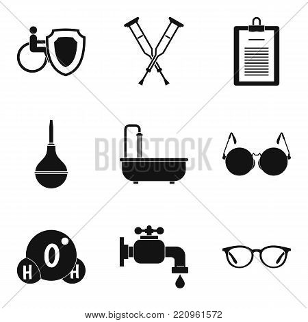 Disabled health care icons set. Simple set of 9 disabled health care vector icons for web isolated on white background