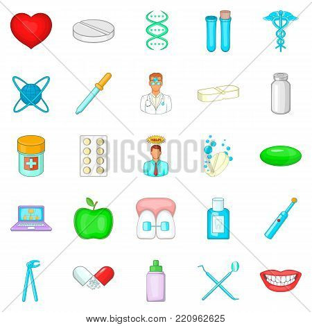 Oral icons set. Cartoon set of 25 oral vector icons for web isolated on white background