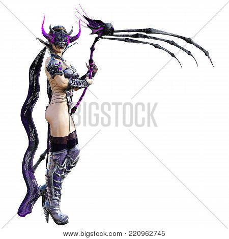 Evil sorceress mask horns. Gothic warrior woman. Magical protective armor. Muscular athletic body. Realistic 3D rendering isolate illustration. Hi key.