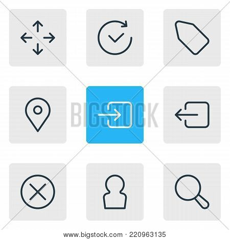 Vector illustration of 9 annex icons line style. Editable set of label, direction, user and other elements.