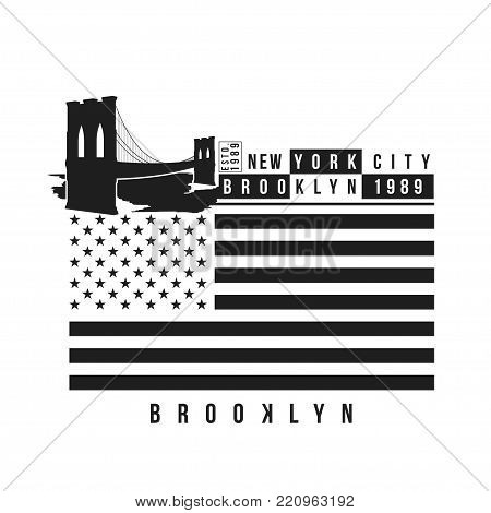New York, Brooklyn Bridge typography for t-shirt print. Stylized Brooklyn Bridge and USA flag. Tee shirt graphic, t-shirt design. Vector