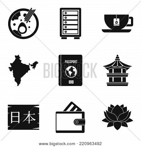 Course icons set. Simple set of 9 course vector icons for web isolated on white background