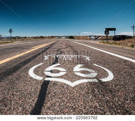 Street sign on historic route 66 in California, USA