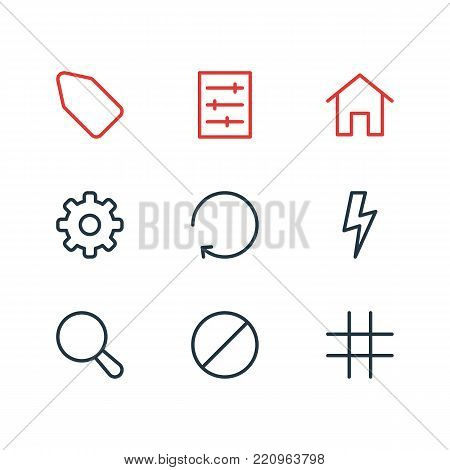 Vector illustration of 9 annex icons line style. Editable set of option, block, flash and other elements.