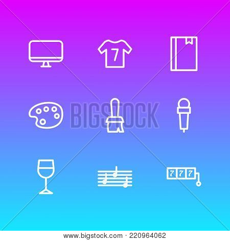 Vector illustration of 9 entertainment icons line style. Editable set of brush, mic, bookmark and other elements.