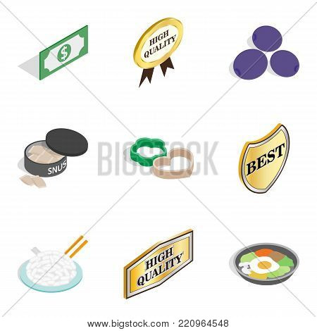 Quality of dish icons set. Isometric set of 9 quality of dish vector icons for web isolated on white background