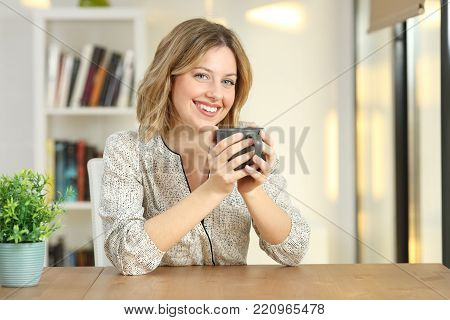 Front view portrait of a satisfied woman posing looking at you sitting on a chair at home with a cozy background