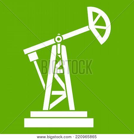 Oil rig icon white isolated on green background. Vector illustration