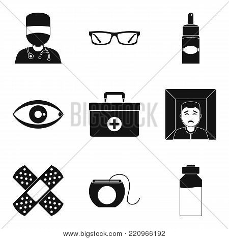 Therapist icons set. Simple set of 9 therapist vector icons for web isolated on white background