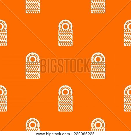Pile of tires pattern repeat seamless in orange color for any design. Vector geometric illustration