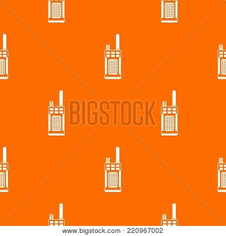 Portable handheld radio pattern repeat seamless in orange color for any design. Vector geometric illustration