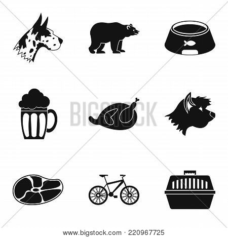 Pet animal icons set. Simple set of 9 pet animal vector icons for web isolated on white background