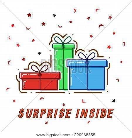 Flat line concept Gift boxes, surprise incide, vector.