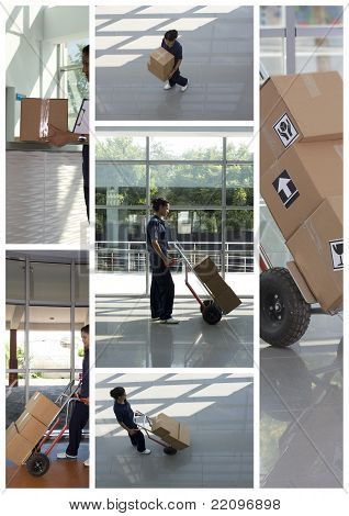 Side view of delivery woman in uniform pushing stack of cardboard boxes on dolly poster