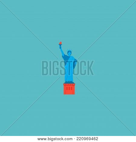 Icon flat statue of liberty element. Vector illustration of icon flat america isolated on clean background. Can be used as statue, liberty and america symbols.
