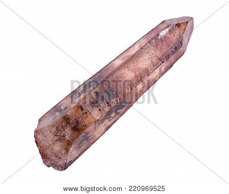 Natural hematite covered citrine double terminated quartz point from Zambia isolated on white background