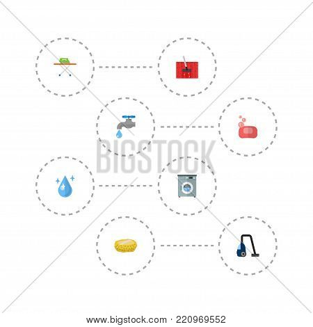 Icons flat style wisp, washing machine, tap water and other vector elements. Set of cleaning icons flat style symbols also includes water, housekeeping, bast objects.