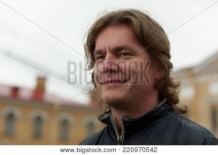 ST. PETERSBURG, RUSSIA - JULY 12, 2017: Bass Denis Sedov before the first performance of the festival All Together Opera. Sedov performs in the opera Ruslan and Lyudmila by M. Glinka