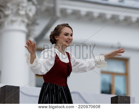 ST. PETERSBURG, RUSSIA - JULY 19, 2017: Olga Cheremnykh as Anchen in the opera The Marksman of C. M. von Weber outdoors during the festival All Together Opera. It was third of 4 performances