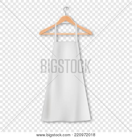 Vector white blank cotton kitchen apron with clothes wooden hanger closeup isolated on transparency grid background. Design template, mock up for branding, advertising etc. Cooking or baker concept.