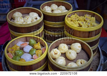 Dim sum is a style of Chinese cuisine (particularly Cantonese) prepared as small bite-size portions of food served in small steamer baskets or on small plates.