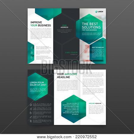 Pharmaceutical brochure tri fold template Layout with icons set. Corporate tri fold brochure modern design template.