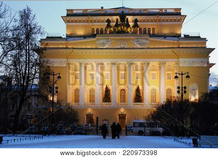 ST. PETERSBURG, RUSSIA - JANUARY 5, 2016: Building of Alexandrinsky theater in a winter evening. Created in 1756, the theater is housed in the building designed by Carlo Rossi since 1832 at Nevsky av.