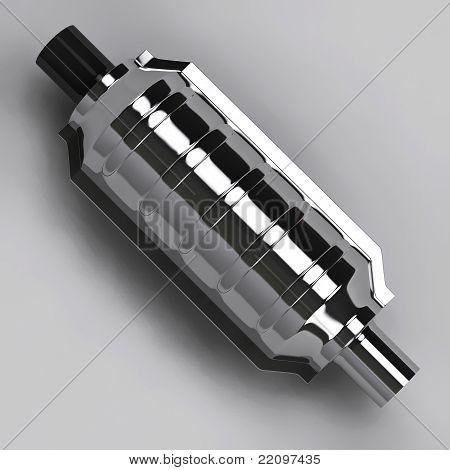 3D Of Catalytic Converter In Grey Studio