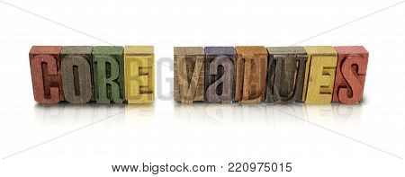 Core Values Wood Block on an Isolated White Background