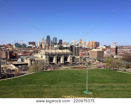 Kansas City, MO--April 4, 2015 View of the skyline and historic union station train depot from national World War One memorial