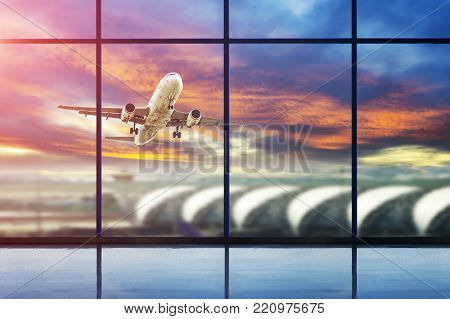 Departure lounge for see Airplane, view from airport terminal.Transport and travel concept.