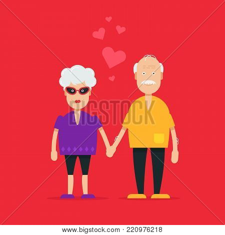 Pretty and cool grandparents characters falling in love and sweet valentine text.  Fully editable vector illustration. Perfect use for greetings cards, posters, flayers on saint valentine day. .