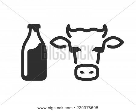 Milk and coaw head flat outline vector illustration. Good  concept for organic, eco diary products, logo placement, advertisement. Icon set.
