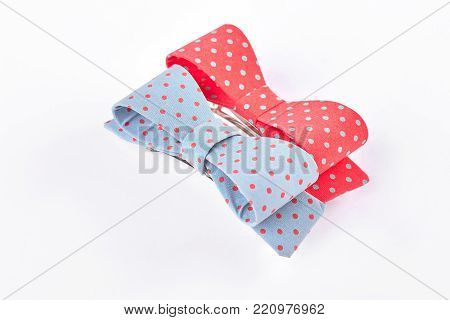 Little ladies elegant hair bows. Beautiful bow ties isolated on white background. Girls traditional hair accessories.