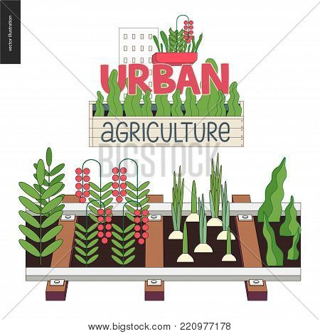 Urban farming, gardening or agriculture. Seedbed made in railing and logo