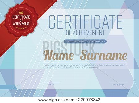 Blank Certified Border Template Blue Modern Geometric Background With Red Ribbon Vector Illustration. EPS 10