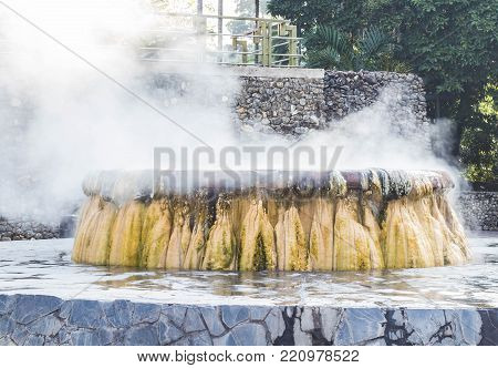 Geyser Hot springs Landmark At Raksawarin Public Park in Ranong, Southern Thailand , An analysis from the Department of Science Service. The minerals. And no sulfur additive Hot spring for relaxation