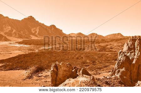 Lifeless martian landscape in highland in Tenerife, The Canaries