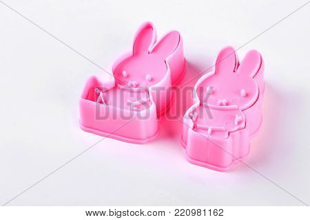 Silicone soap molds on white background. Silicone animal cake molds, isolated on white background.