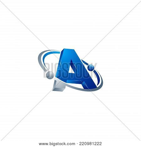 3D letter A blue colour with atom orbits meteor space Abstract swoosh Initial alphabet Logo design Template