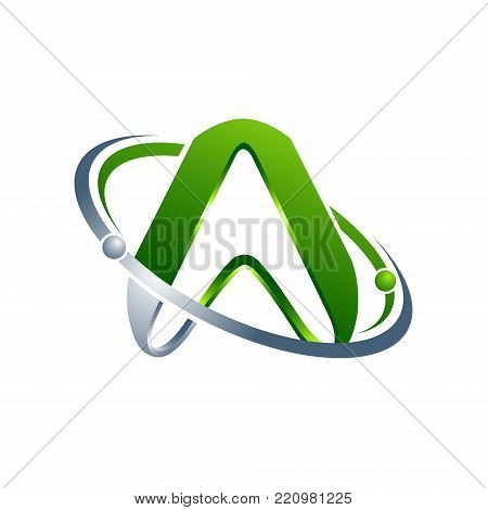 3D letter A green colour with Abstract atom orbits meteor space swoosh Initial alphabet Logo design Template