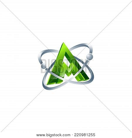 3D letter AM orbits atom meteor space Abstract swoosh Initial alphabet Logo design Template