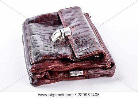 Man old brown casual briefcase. Male vintage leather bag isolated on white background. Men retro accessory.