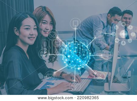 Group Of Asian Business people with casual suit working and talking together for online shopping and communication with omni channel in the modern Office, people business group with technology concept, 3D illustration