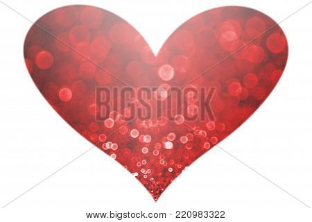 Beautiful abstract red glitter sparkle confetti heart shape isolated on white background for happy birthday celebration, Valentine's Day, engagement, wedding, anniversary or love