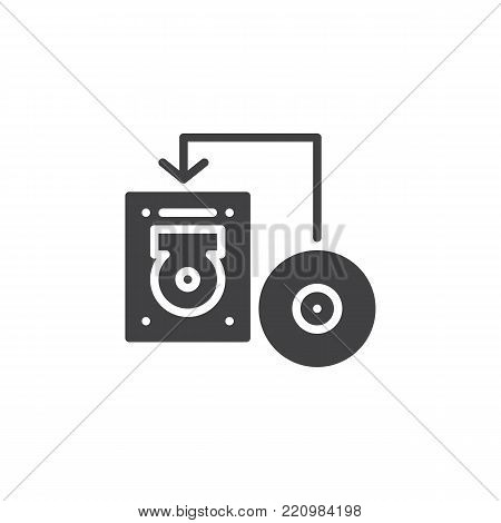 Transfer disk into hard drive disk icon vector, filled flat sign, solid pictogram isolated on white. Data recovery symbol, logo illustration.