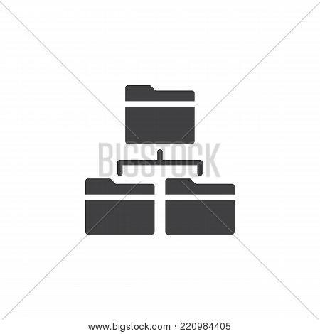 Network folders icon vector, filled flat sign, solid pictogram isolated on white. Directory structure symbol, logo illustration. poster