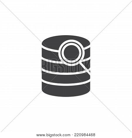 Search database icon vector, filled flat sign, solid pictogram isolated on white. Computer storage database and magnifier symbol, logo illustration.