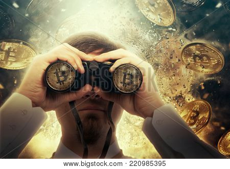 Businessman with binoculars looking to the future. Bitcoin cryptocurrency