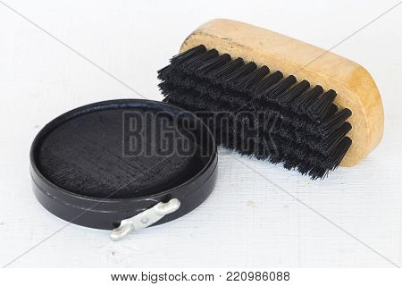 shoes polish for clean leather shoes on white